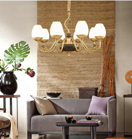 This is the front drawing. LED Chandelier Light Magnolia Shaped Glass Shade Metal Frame Modern Style from Singapore best online lighting shop for floor lamp, horizon lights