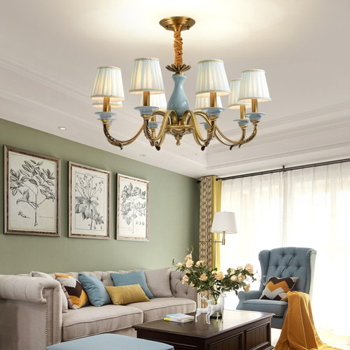 LED Chandelier Light Copper Ceramic Lamp Body European style from Singapore best online lighting shop horizon lights