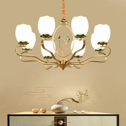 New Chinese Style LED Chandelier Light Ceramic Lotus Lampshade Metal Living Room Decor from Singapore best online lighting shop horizon lights