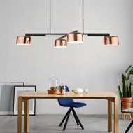 Modern LED Chandelier Light Rotatable Frame Rose Gold Metal Shade Living Room