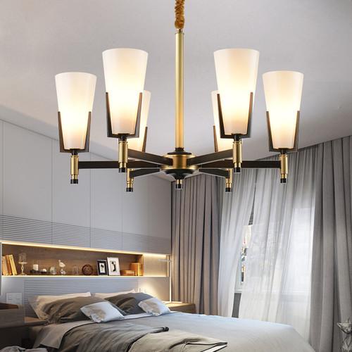 Modern LED Chandelier Light Glass Shade Copper Lamp Body Living Room Decor from Singapore best online lighting shop horizon lights
