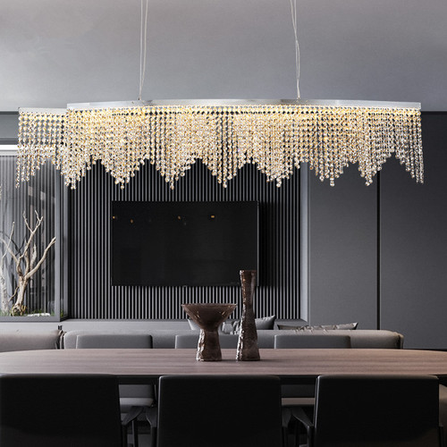 Crystal Bead Curtain Metal Luxurious LED Chandelier Light European Bar Dining Room