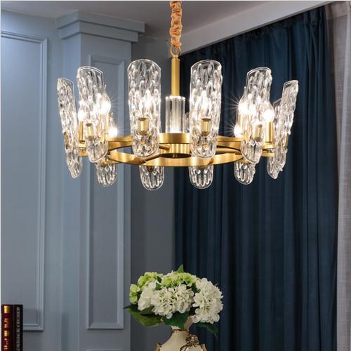 Crystal Glass Shade Copper Elegant LED Chandelier Light Modern Living Room
