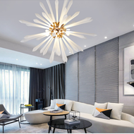 Modern LED Chandelier Light Glass Line Shade Bedroom Dining Room from Singapore best online lighting shop horizon lights