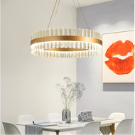 Modern LED Crystal Chandelier Light Gold Circle Shape Living Room Decor from Singapore best online lighting shop horizon lights