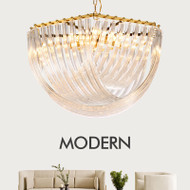 Modern LED Chandelier Light Crystal Shape Gold Metal Lamp Body Modern Style from Singapore best online lighting shop horizon lights