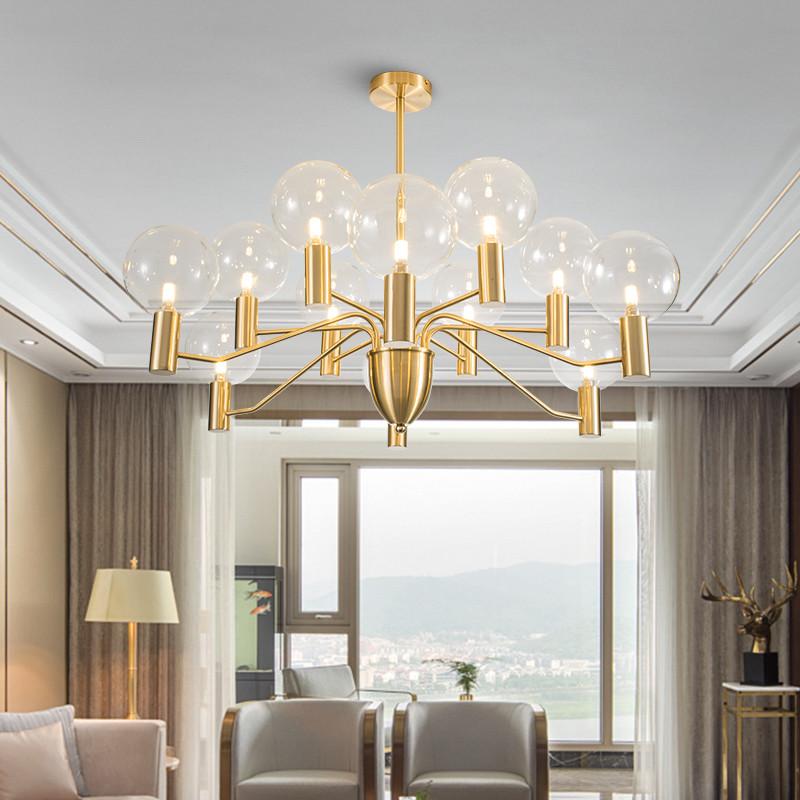 Modern Led Chandelier Light Glass Ball Shade Metal Dining Room