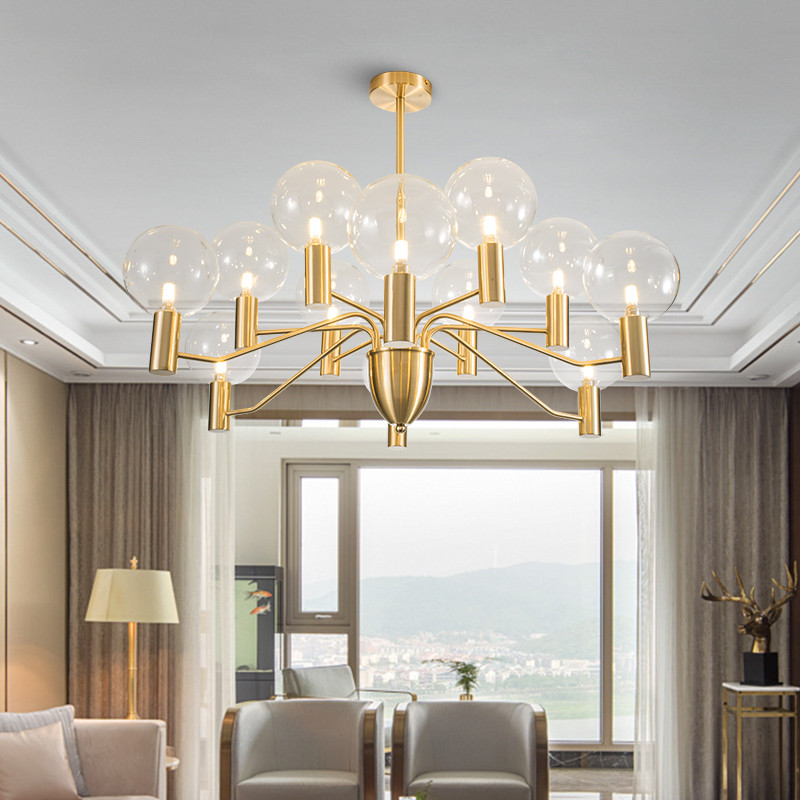 Modern Led Chandelier Light Glass Ball Shade Metal Dining Room Living Room