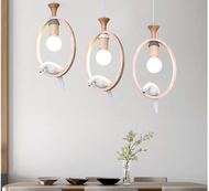LED Pendant Light Cute Bird Wood Made Restaurants Dining room from Singapore best online lighting shop horizon lights
