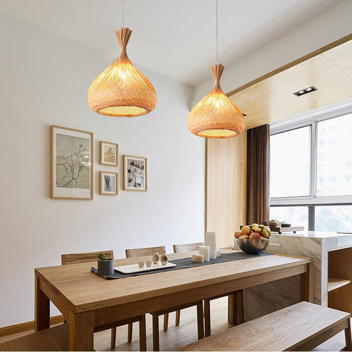 LED Pendant Light Weave Bamboo Lampshade E27 Bulb Dining Room Light from Singapore best online lighting shop horizon lights