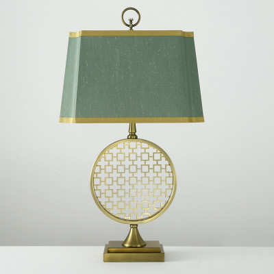 LED Table Lamp Vintage Green Fabric Lampshade Philips E27 Bulb from Singapore best online lighting shop horizon lights