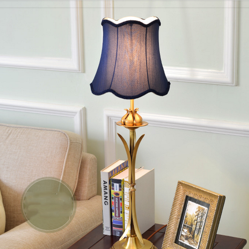 LED Table Lamp Copper Fabric Bedroom Study room Living Room Decor American Country Style from Singapore best online lighting shop horizon lights