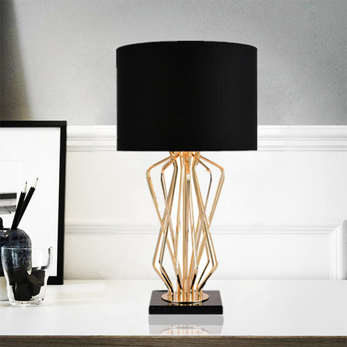 Modern Simple LED Table Lamp Marble Pedestal Fabric Shade Metal Bedroom Living Room Decor from Singapore best online lighting shop horizon lights