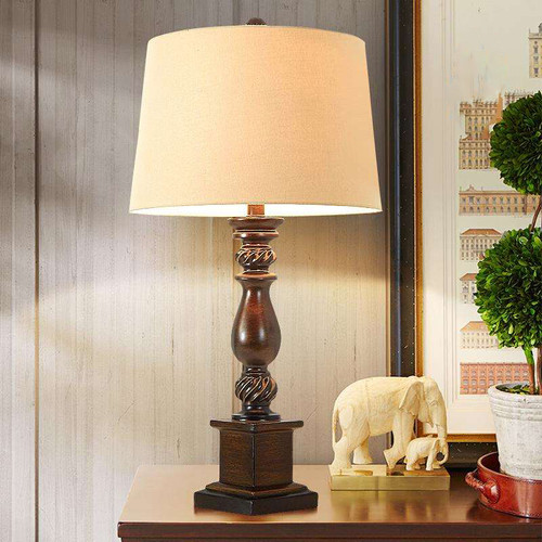 American LED Table Lamp Fabric Shade Resin Body Bedroom Living Room Decor from Singapore best online lighting shop horizon lights