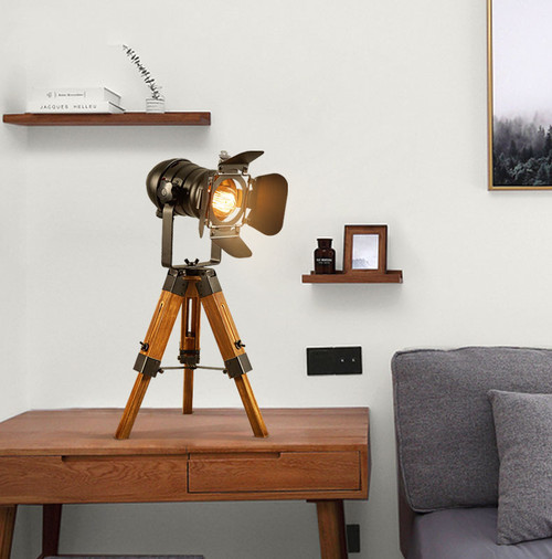 Industrial LED Table Lamp Tripod Wood Body Metal Shade LED E27 Bulb Light from Singapore best online lighting shop horizon lights