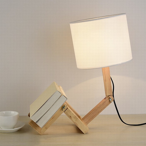 Robot Shape Wooden Table Lamp E27 Lamp Holder Modern Cloth Art Wood Desk Table Lamp from Singapore best online lighting shop horizon lights