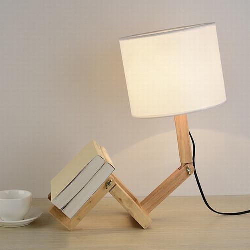 Robot Shape Wooden Table Lamp E27 Lamp Holder Modern Cloth Art Wood Desk Table Lamp from Singapore best online lighting shop horizon lights