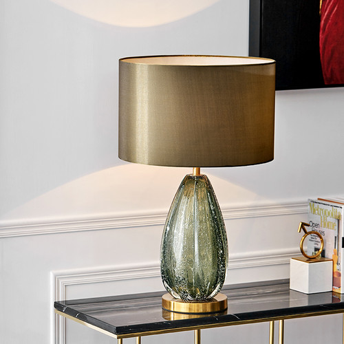 Modern Table Lamp Glass Base Fabric Shade Creative Design Bedroom Living Room Light from Singapore best online lighting shop horizon lights