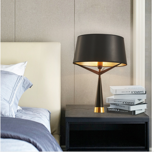Nordic Metal LED Table Lamp Design Triangle Art Decor Table Lamp White/Black Fabric Lampshades from Singapore best online lighting shop horizon lights