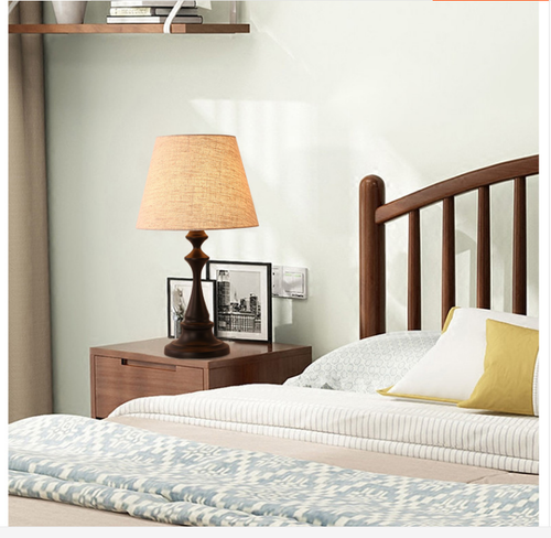 American style LED Table Lamp 2PCS Fabric Shade Metal Lamp Body Bedroom Lights from Singapore best online lighting shop horizon lights