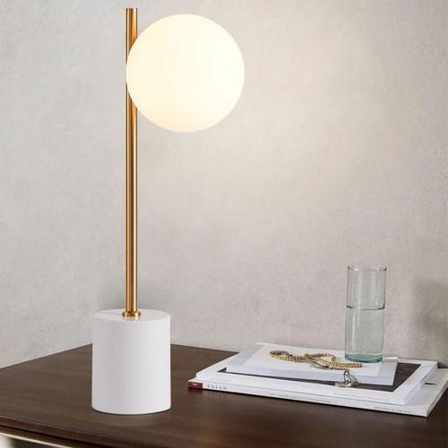 Modern LED Table Lamp White Marble Base Glass Ball Shade Bedroom Decor from Singapore best online lighting shop horizon lights