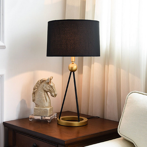 Modern LED Table Lamp Fabric Shade Metal Lamp Body E27 Bulb Light from Singapore best online lighting shop horizon lights