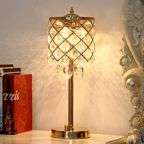 LED Table Lamp Luxury Crystal Lampshade Light Bedroom European Style from Singapore best online lighting shop horizon lights