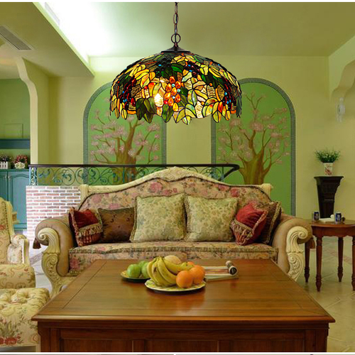 Tiffany style LED Pendant Light Glass Shade Colorful Fantastic Restaurant Dining Room from Singapore best online lighting shop horizon lights