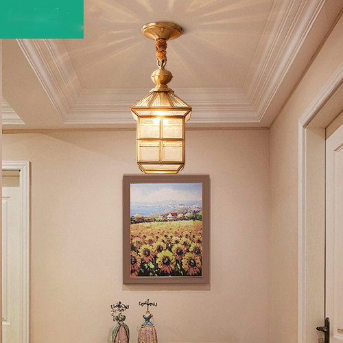 Modern Simple LED Pendant Light Copper Glass Shade Hallway Practical Glass Light for Corridor from Singapore best online lighting shop horizon lights