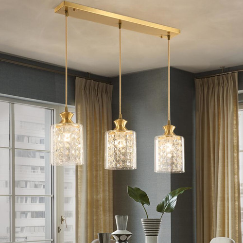 American Style LED Pendant Light Copper Crystal 3PCS E27 Bulbs Light Dining Room Bedroom Light from Singapore best online lighting shop horizon lights