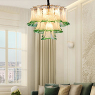 Modern LED Pendant Light Luxury Green Petal Glass Light Living Room Bedroom Light from Singapore best online lighting shop horizon lights