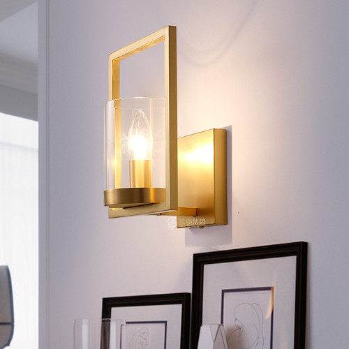 Modern LED Wall Lamp Copper Rectangle Frame Glass Shape Hallway Corridor Study from Singapore best online lighting shop horizon lights