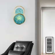 Modern LED Wall Light Copper Jade Blue Beautiful Unique Living Room Corrider Decor from Singapore best online lighting shop horizon lights