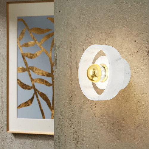 Modern LED Wall Lamp White Marble Cylinder Shade Lamp Living Room Bedroom Decor from Singapore best online lighting shop horizon lights