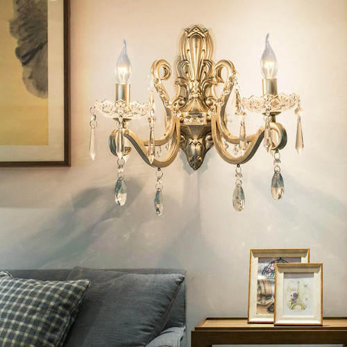 American Style  LED Wall Lamp Retro Artistic Crystal  Lamp Living Room Decor from Singapore best online lighting shop horizon lights