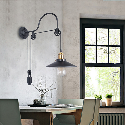 Industrial Style LED Wall Lamp Pulley Rope Metal Lamp Edison E27 Bulb Lamp from Singapore best online lighting shop horizon lights