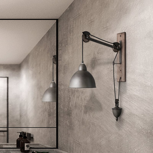 Industrial Style LED Wall Lamp Pulley Metal E27 Lamp Cafe Restaurant Corridor from Singapore best online lighting shop horizon lights