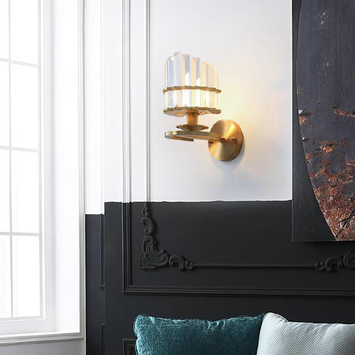 Modern LED Wall Lamp Crystal Sahde Copper Lamp Corridor Living Room Decor from Singapore best online lighting shop horizon lights