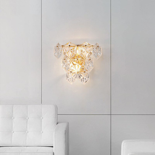 Modern LED Wall Lamp Snowflake Crystal Shade Copper Lamp Living Room Decor from Singapore best online lighting shop horizon lights