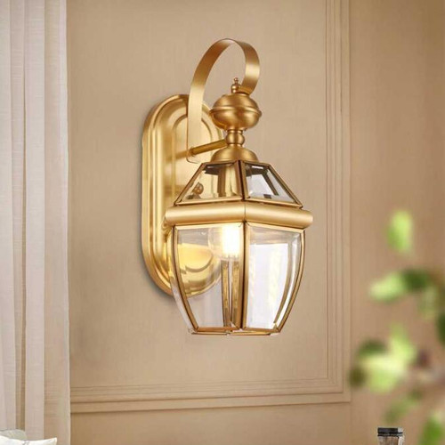 American LED Wall Lamp Glass Shade Copper Lamp Living Room Corridor Decor from Singapore best online lighting shop horizon lights