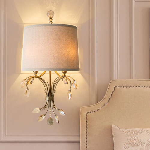 American Country LED Wall Light Fabrics Shade Crystal Decoration Light from Singapore best online lighting shop horizon lights