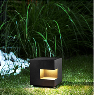 Modern LED Lawn Light Outdoor Lamp Black/Gray 5W IP54 Square Courtyard Decor from Singapore best online lighting shop horizon lights