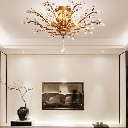 Modern LED Ceiling Light Crystal Metal Leaf Shade Luxury Living room Decor from Singapore best online lighting shop horizon lights