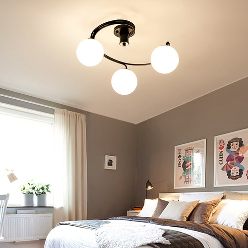 Modern LED Ceiling Light Glass Ball Shade Metal Light Living room Bedroom Decor from Singapore best online lighting shop horizon lights