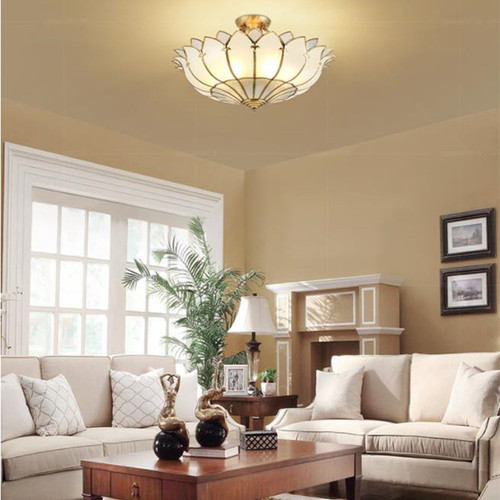 This is the scene picture. European Style LED Ceiling Light Copper Glass Lotus Shape Lampshade Home Hotel Decor