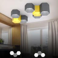 Modern LED Ceiling Light Metal Hexahedron Macaron Light Living Room Decor from Singapore best online lighting shop horizon lights
