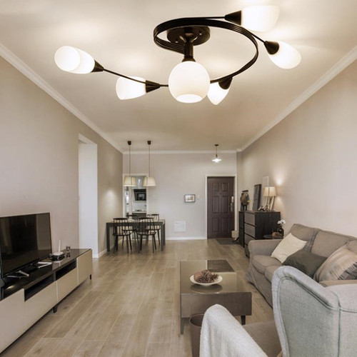 This is the scene picture. Modern LED Ceiling Light Metal Helix Flower Shape Living room Bedroom