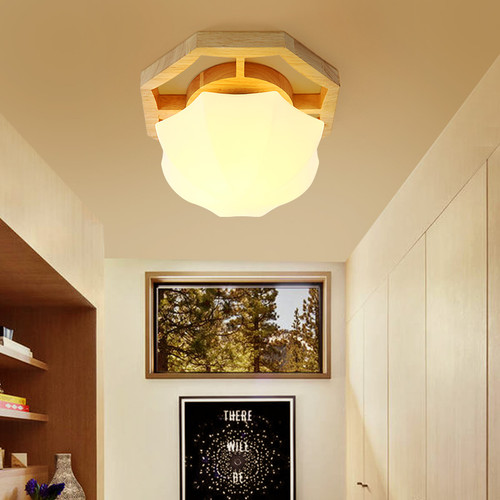 This is the scene picture. Modern LED Ceiling Light Glass Shell Shade Wood Light Living Room Bedroom Decor from Singapore best online lighting shop horizon lights