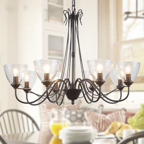 American Country LED Chandelier Light Glass Shade Metal Simple Living room Dining room from Singapore best online lighting shop horizon lights