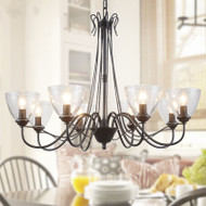 Glass Shade Metal Simple LED Chandelier Light American Country Living Room Dining Room